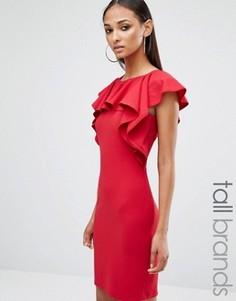 Платье мини с оборкой Missguided Tall - Красный