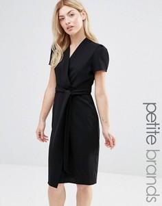 Чайное платье миди с запахом Alter Petite - Черный