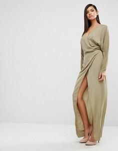 Платье макси с драпировкой AQ/AQ Marvey - Зеленый