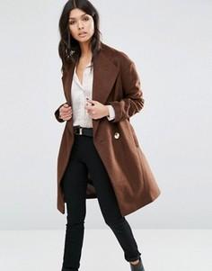 Пальто-кокон с контрастной пуговицей ASOS - Коричневый