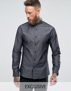Джинсовая рубашка с воротом на пуговице Heart and Dagger - Черный