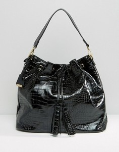 Рюкзак с эффектом крокодиловой кожи и завязкой Glamorous - Черный