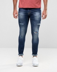 Рваные выбеленные джинсы с напылением Hoxton Denim - Синий