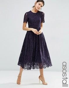 Платье для выпускного миди с укороченным кружевным топом ASOS TALL - Темно-синий