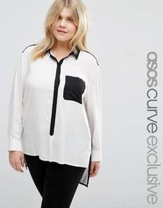 Монохромная рубашка в стиле колор блок ASOS CURVE - Мульти