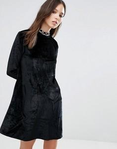 Вельветовое приталенное платье Brave Soul - Черный