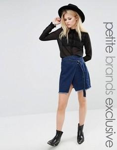 Джинсовая юбка с бахромой на подоле Glamorous Petite - Синий