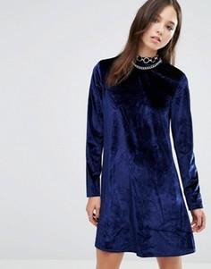 Вельветовое приталенное платье Brave Soul - Темно-синий