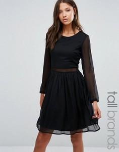 Платье с длинными рукавами и кружевной вставкой Y.A.S Tall - Черный