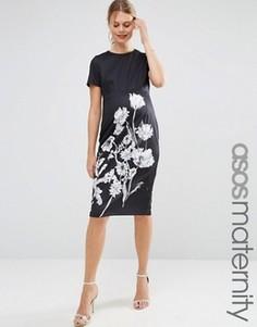 Облегающее платье миди для беременных с монохромным цветочным принтом ASOS Maternity - Мульти