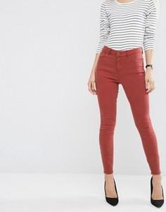 Красно-бурые зауженные джинсы с завышенной талией ASOS Ridley - Красный