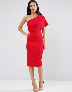 Платье миди на одно плечо с глубокими складками и открытой молнией ASOS - Красный