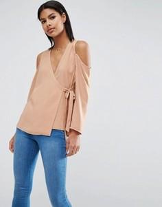 Блузка с открытыми плечами и запахом ASOS - Рыжий