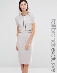 Платье-футляр с короткими рукавами и окантовкой Alter Tall - Серый