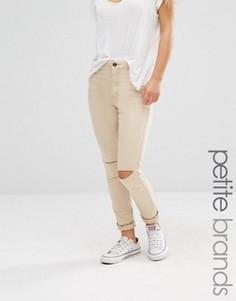 Рваные джинсы скинни Boohoo Petite - Бежевый