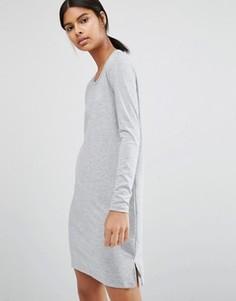 Трикотажное платье мини с разрезом сбоку Vila - Серый