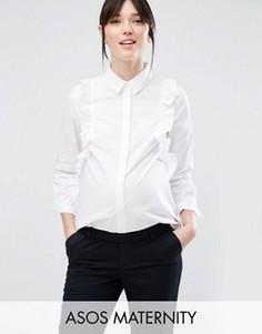 Строгая рубашка для беременных с рюшами спереди ASOS Maternity - Белый