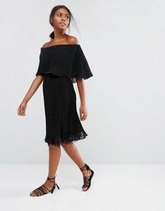 Плиссированная юбка с кружевной кромкой Y.A.S Pleady - Черный