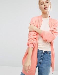 Длинная трикотажная куртка-пилот Monki - Розовый