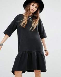 Платье-футболка с баской по краю Rokoko - Черный