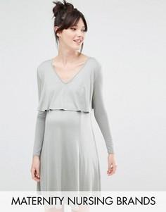 Короткое платье для беременных и кормящих мам Bluebelle Maternity - Зеленый