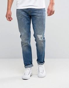 Синие суженные джинсы с эффектом потертости Lee Arvin - Синий