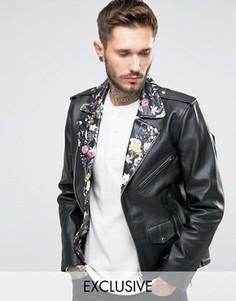 Байкерская кожаная куртка с цветочным принтом на воротнике Reclaimed Vintage - Черный