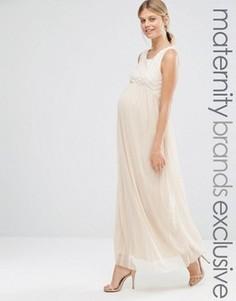Платье макси для беременных без рукавов с отделкой Queen Bee - Бежевый