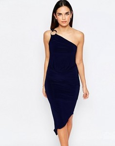 Асимметричное платье на одно плечо с кольцом Jessica Wright Perry - Темно-синий