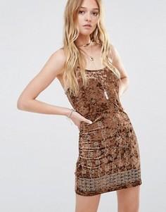 Бархатное платье с вышивкой Ebonie n Ivory - Коричневый