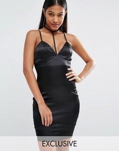 Атласное платье на бретельках с лентой на шее NaaNaa - Черный