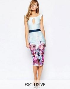 Платье-футляр с цветочным принтом и эффектом омбре True Violet - Мульти