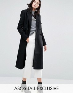 Двубортное пальто слим ASOS TALL - Черный