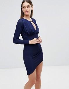 Платье с длинными рукавами Sistaglam - Темно-синий