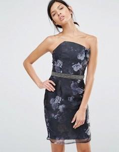 Платье-футляр с цветочным принтом и декорированной талией Little Mistress - Черный
