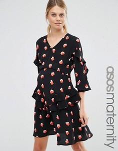 Чайное платье для беременных с V-образным вырезом ASOS Maternity - Мульти