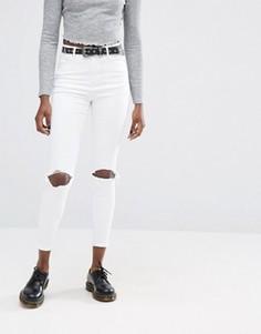 Белые рваные джинсы скинни с завышенной талией ASOS Ridley - Белый