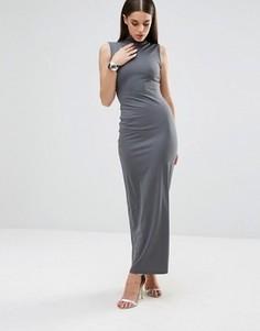 Платье макси в рубчик с высокой горловиной Club L - Серый