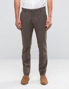 Строгие брюки слим из шерстяной смеси Selected Homme - Коричневый