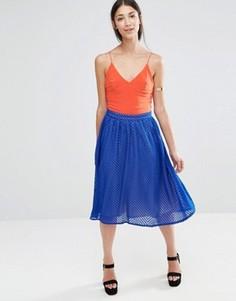 Плиссированная юбка миди Little Mistress - Синий