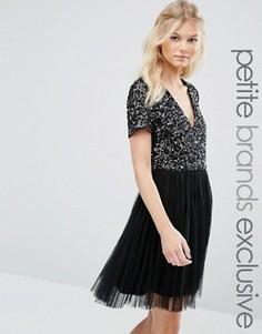 Платье с V‑образным вырезом и отделкой пайетками Maya Petite - Черный