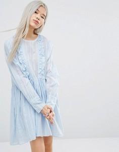 Свободное платье в полоску с длинными рукавами и рюшами STYLENANDA - Мульти