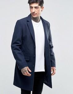 Пальто из смесовой шерсти Another Influence - Темно-синий
