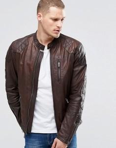 Коричневая кожаная куртка со стеганой отделкой Pepe Goldborne - Коричневый
