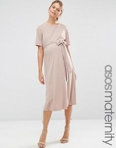Платье миди для беременных с завязками спереди ASOS Maternity - Розовый