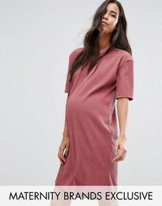 Фактурное платье‑футболка для беременных в стиле oversize Missguided Maternity - Фиолетовый