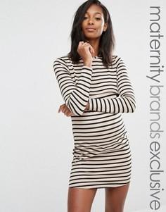 Двуслойное платье в полоску для беременных Missguided Maternity - Мульти