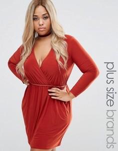 Короткое приталенное платье с запахом Club L Plus - Оранжевый