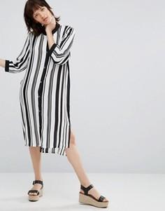 Платье миди в полоску Minimum Lizanne - Белый