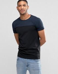 Темно-синяя футболка в стиле колор блок Lindbergh - Темно-синий